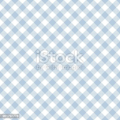 Diagonal pale light blue and white gingham seamless pattern