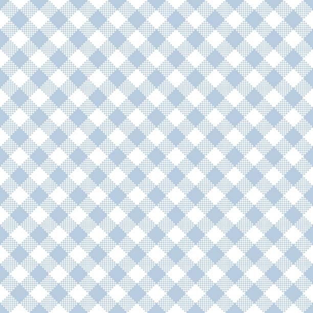 Leichte blaue Gingham nahtlose Muster – Vektorgrafik