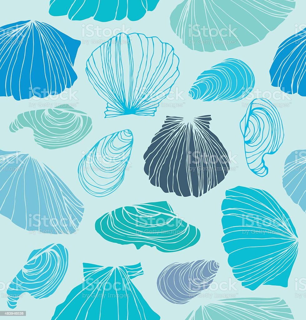 Light blue graphic background with seashells vector art illustration