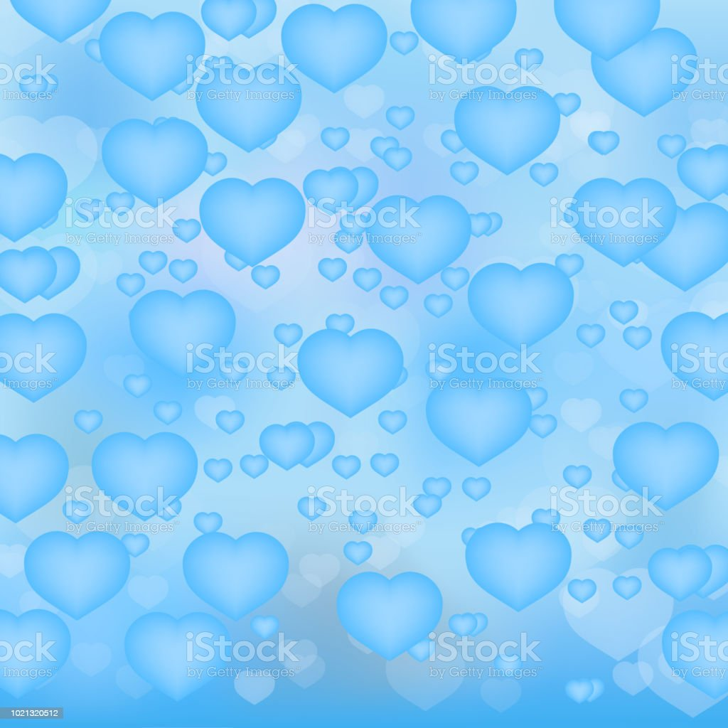 6dca67485e8 Light blue hearts 3d background. Valentine's day shiny greeting card.  Romantic vector illustration. Easy to edit design template. - Illustration .