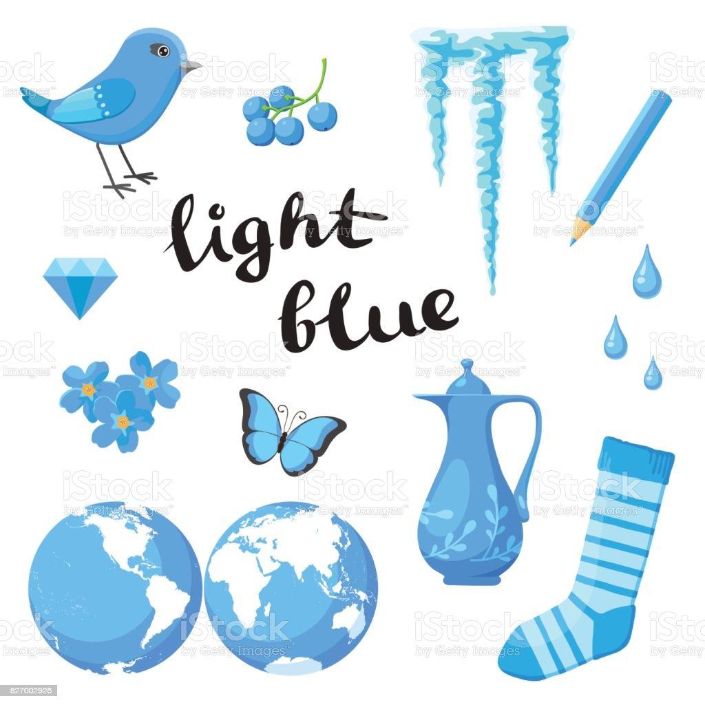 Hellblau Lernen Sie Die Farbe Bildung Setzen Abbildung Der