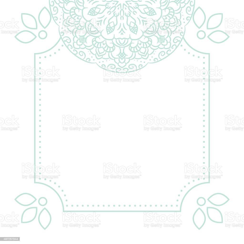 Light Blue Mandala Card Template Background Stock Illustration Download Image Now