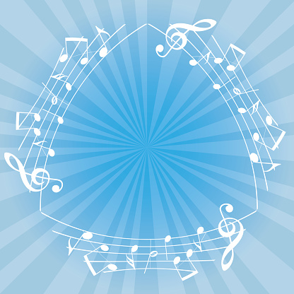 light blue music background with white musical notes as triangular frame and center flash - vector