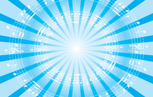 light blue music vector background with radial rays