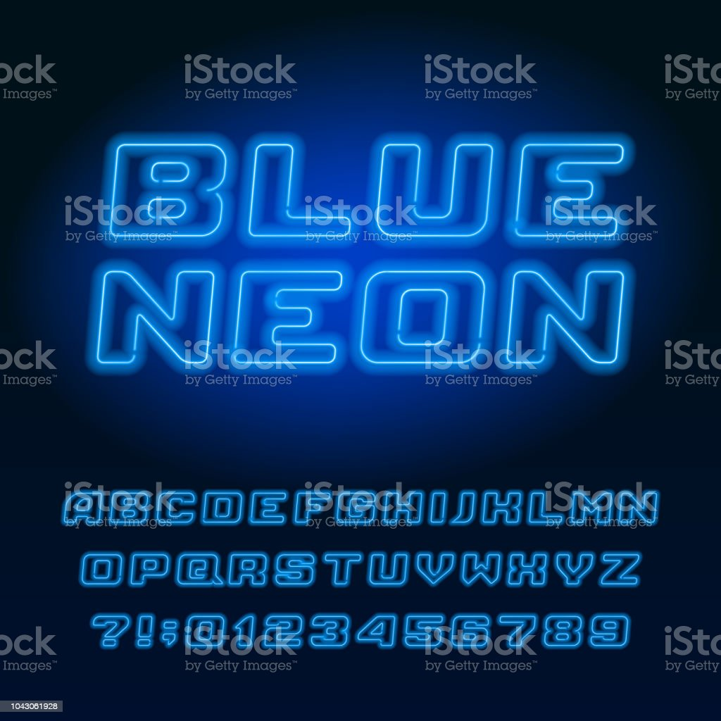 Light Blue Neon Tube Alphabet Font Neon Color Italic Letters