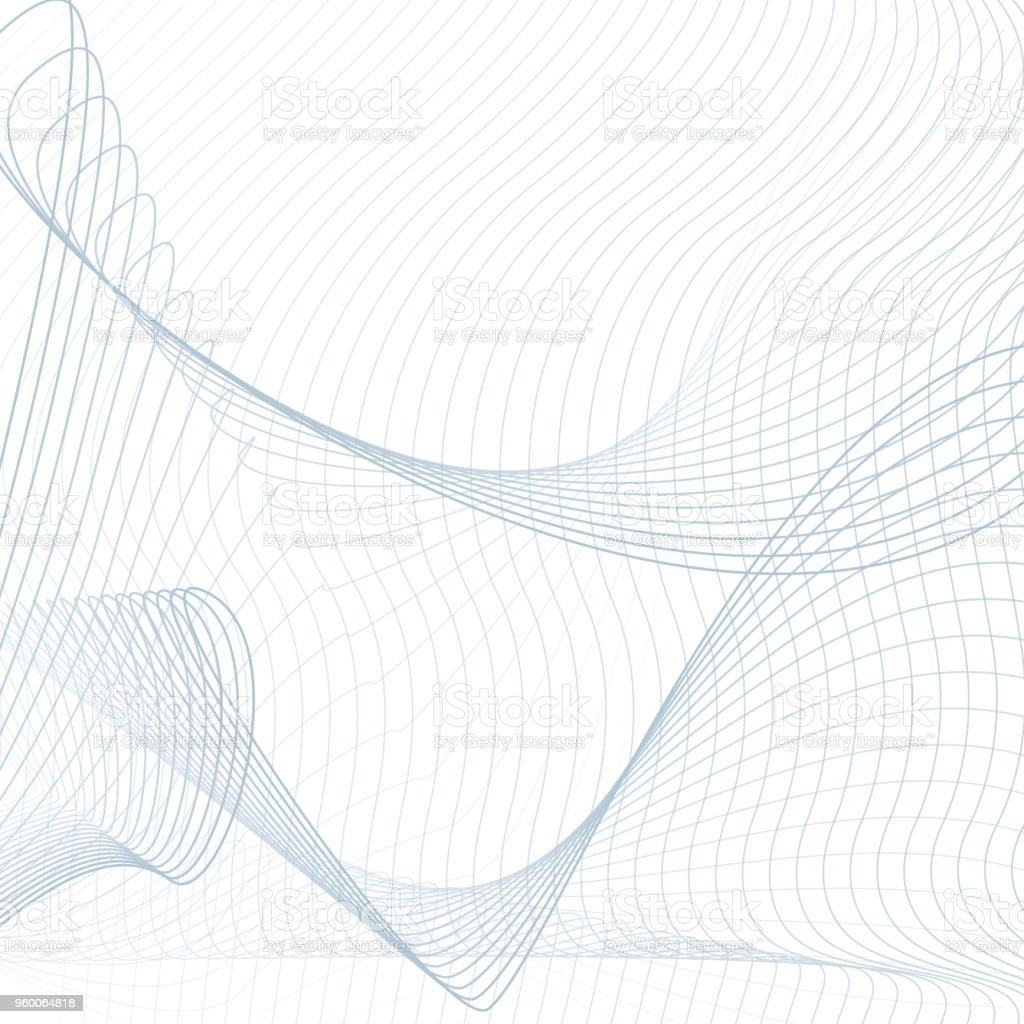 light blue net pattern on white background scientific and technical template line art modern