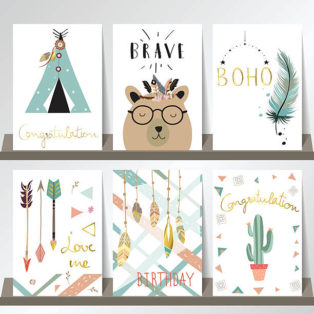 light blue pink gold card template with whale,feather,arrow - bohemian fashion stock illustrations, clip art, cartoons, & icons