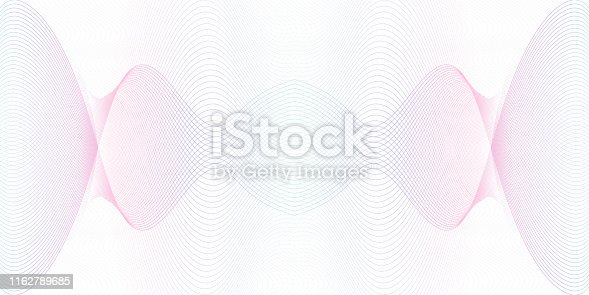 Light blue, purple symmetric guilloche. Watermark line art pattern. Crisscross colored curves. Ripple subtle lines. Vector abstract background. Backdrop design for money, banknote, cheque, certificate. EPS10 illustration