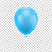 Light blue realistic balloon. Light blue ball isolated on a transparent background for designers and illustrators. Balloon as a vector illustration