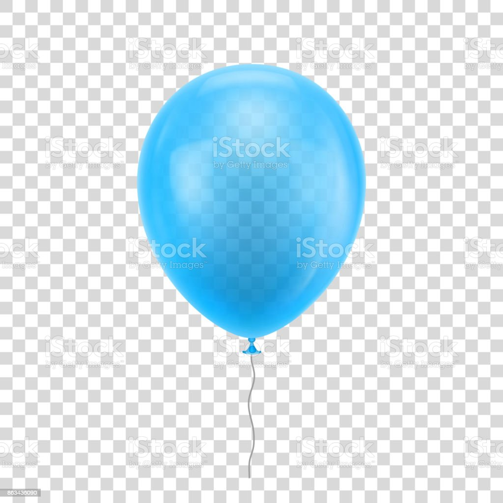 Light blue realistic balloon. vector art illustration