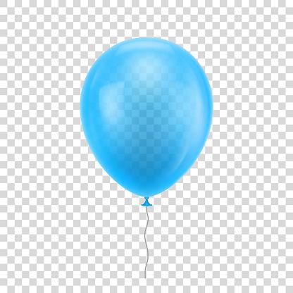 Light Blue Realistic Balloon - Stockowe grafiki wektorowe i więcej obrazów Balon