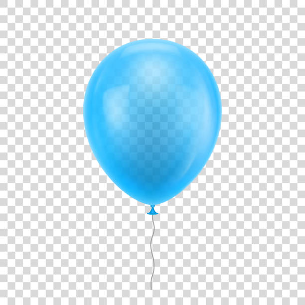 Light blue realistic balloon. Light blue realistic balloon. Light blue ball isolated on a transparent background for designers and illustrators. Balloon as a vector illustration hot air balloon stock illustrations