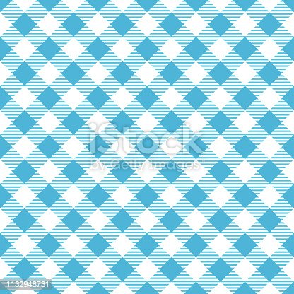 Light blue and white tablecloth argyle seamless diagonal pattern background.