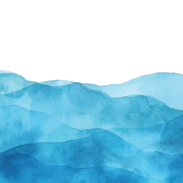 Light Blue Watercolor Background With Waves Vector illustration of watercolor painting. wave water stock illustrations