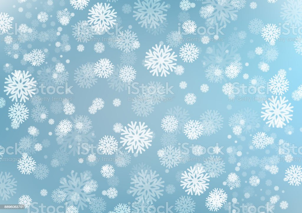 Light Blue Winter Background With Snow FlakesCool Falling And Christmas Day Conceptdesign