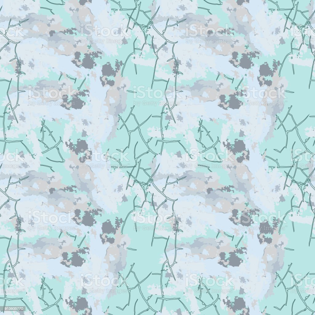 Light blue winter camouflage with stains and cracks vector art illustration