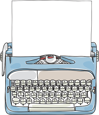 Light Blue Working Typewriter with paper  hand drawn vector cute art illustration