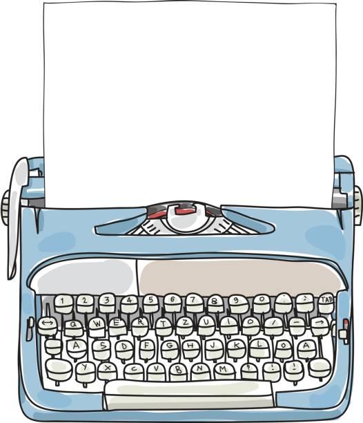 bildbanksillustrationer, clip art samt tecknat material och ikoner med ljus blå arbetar skrivmaskin med papper hand dras söt konst vektorillustration - paper mass