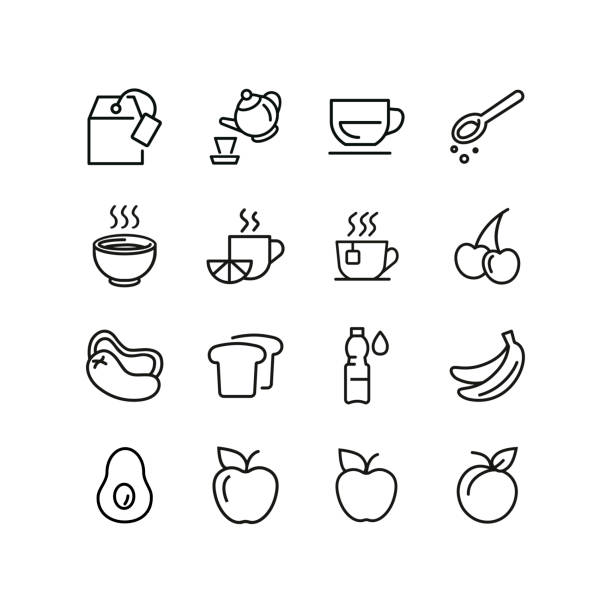 Light breakfast line icon set Light breakfast line icon set. Fruit, hot drink, toast, water. Food concept. Can be used for topics like tea break, healthy snack, menu avocado icons stock illustrations