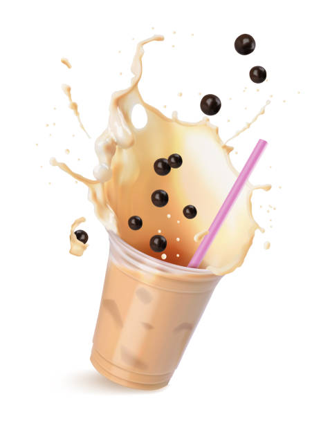 Light brown cream bubble tea with milk and black tapioca with pink straws in a transparent cup. Vector illustration isolated on white. vector art illustration