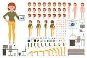 Light brown hair office worker girl cartoon character body parts creation set. Young woman in yellow pants standing with tablet vector constructor illustration on white background