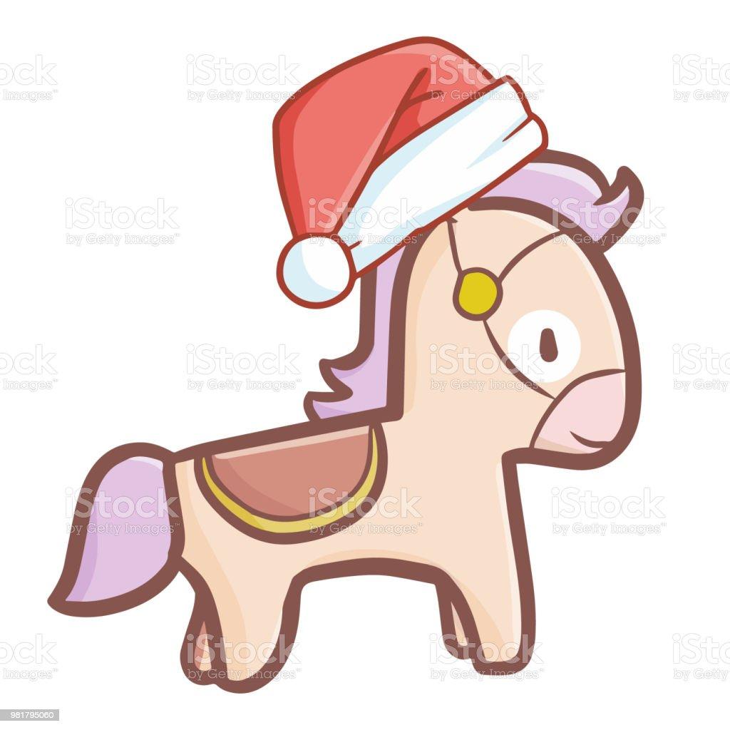 Leichte Braune Pferd Des Weihnachtsmanns Hut Für Weihnachten Stock