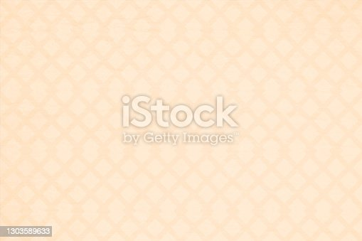 istock Light brown or beige coloured grunge old vector backgrounds with an all over pattern of narrow criss cross double lines. The wallpaper is semi seamless (the crisscross design being seamless while the grunge is not) stock illustration 1303589633