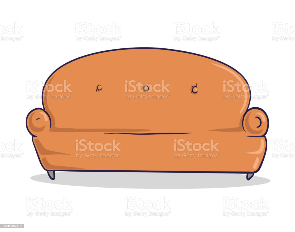 Light brown soft couch. Sandy-colored sofa with shadow. Isolated image on white background. Vector Illustration. Cartoon style.