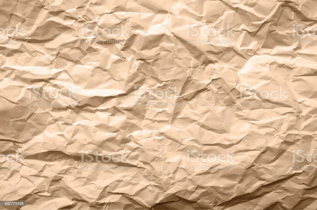 Light Brown Texture of Crumpled Paper vector art illustration