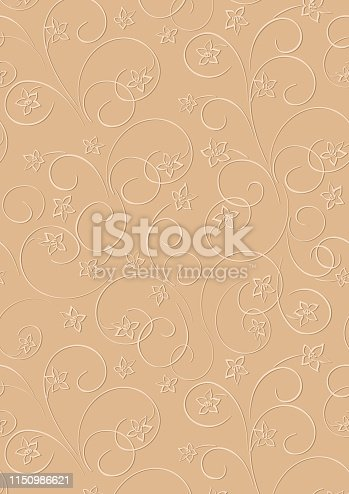 light brown vector floral background a4 format with shadow