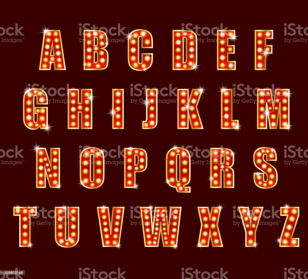 Light Bulb alphabet glamorous showtime theater alphabet vector art illustration