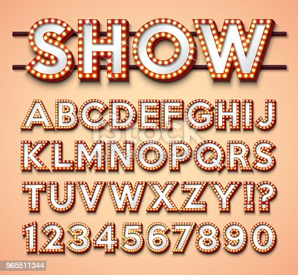 Light Bulb Alphabet with bright red frame and shadow on red backgrond. Glowing retro vector font collection with shiny lights. ABC and number design for casino, night club or cinema. Layered Separated Characters