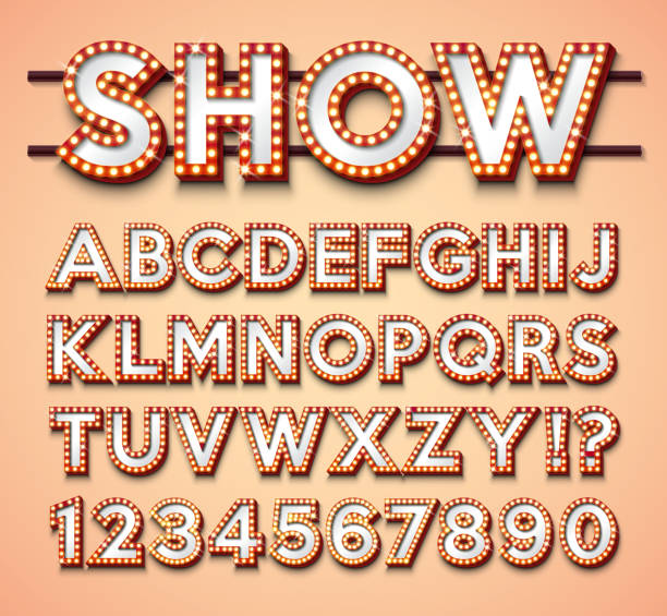 light bulb alphabet with bright red frame and shadow on red backgrond. glowing retro vector font collection with shiny lights. abc and number design for casino, night club or cinema. layered separated characters. - circus stock illustrations