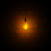 Vector light bulb and brick wall.