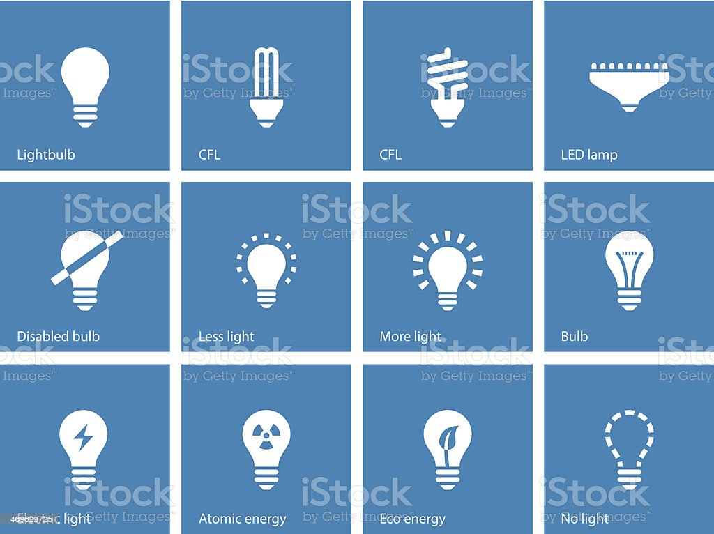 Light bulb and CFL lamp icons on blue background. vector art illustration