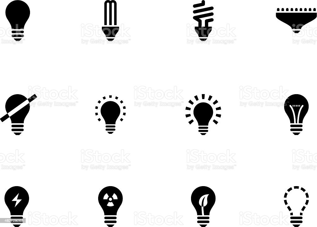 Light bulb and CFL lamp icons vector art illustration