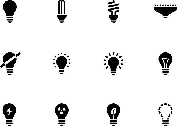 illustrations, cliparts, dessins animés et icônes de ampoule lampe icônes et des ampoules cfl - lampe électrique