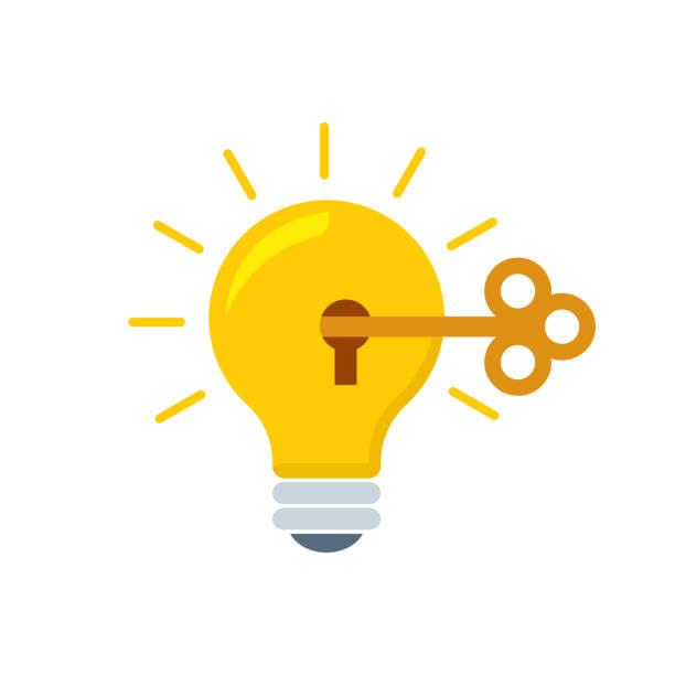 ilustrações, clipart, desenhos animados e ícones de lâmpada de criatividade plano estilo, colorido, ícone de vetor de informação gráfica, websites, mídia móvel e impressão. - chave