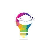 istock Light bulb and graduation cap logo. 1223866332