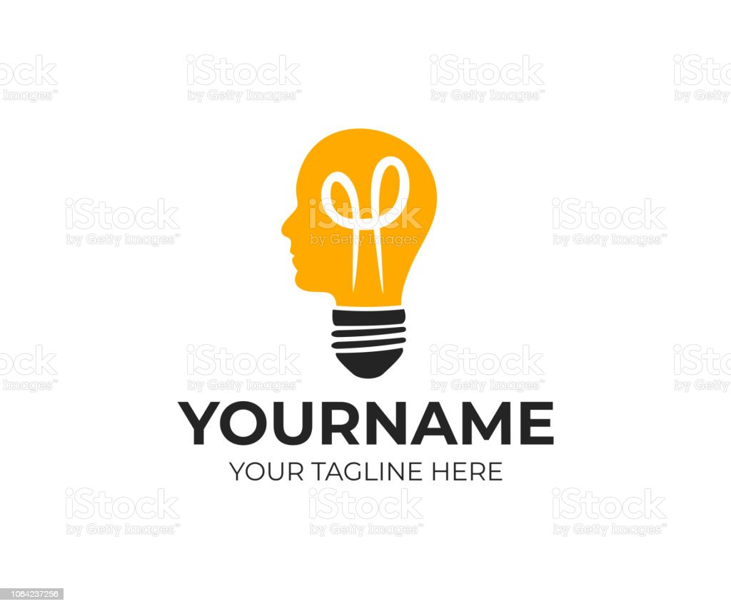Light Bulb And Head Creative Mind And Idea Logo Design Thinking Man Electric Lamp And Lighting Vector Design Energy Power And Electricity Illustration Stock Illustration Download Image Now Istock