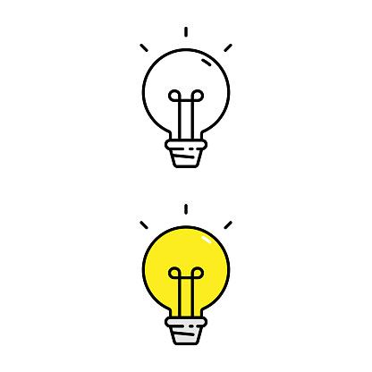 Light Bulb and Idea Icon.