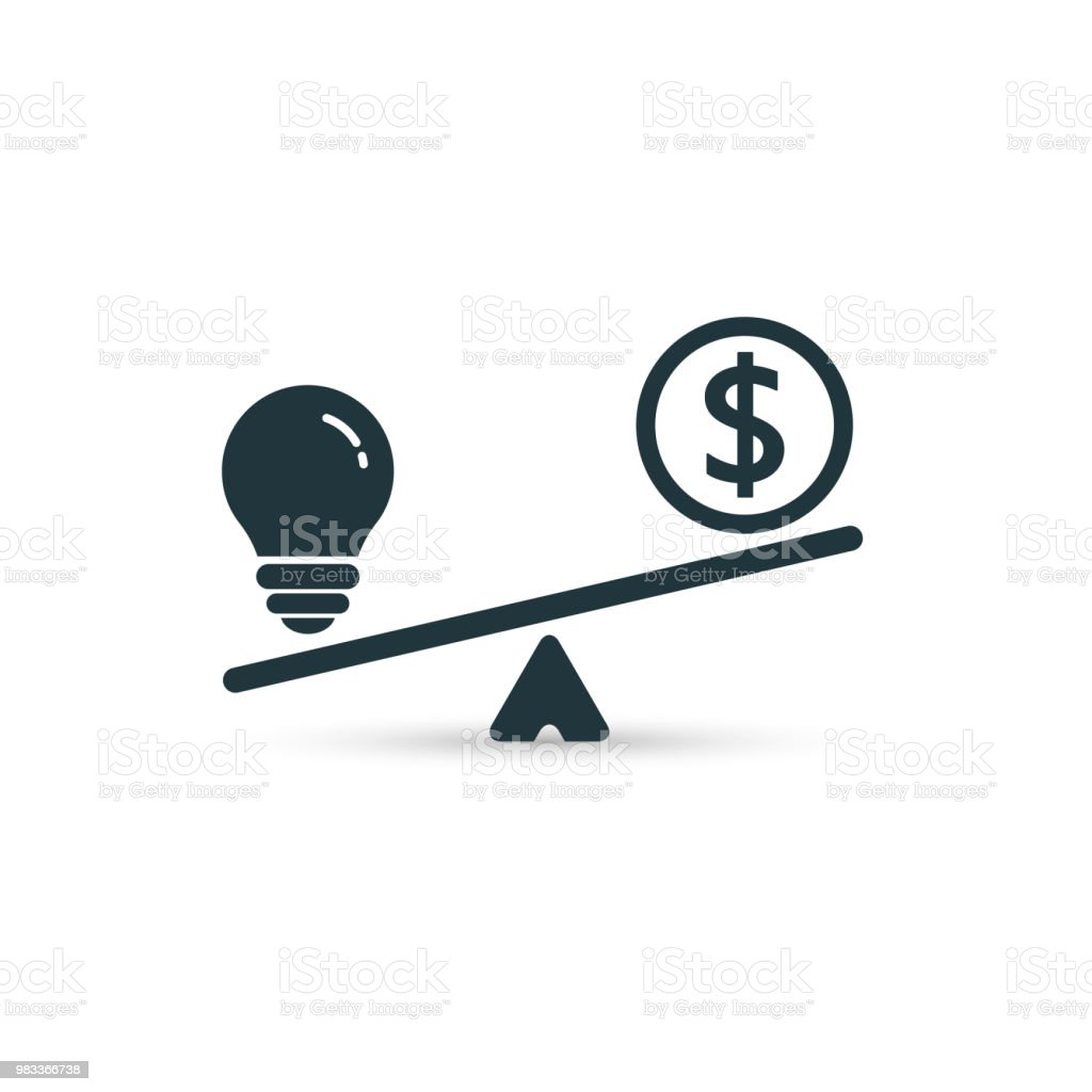 Light bulb and money on scales. Vector flat design.
