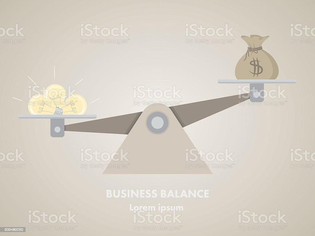 Light bulb and money on the scale. vector art illustration