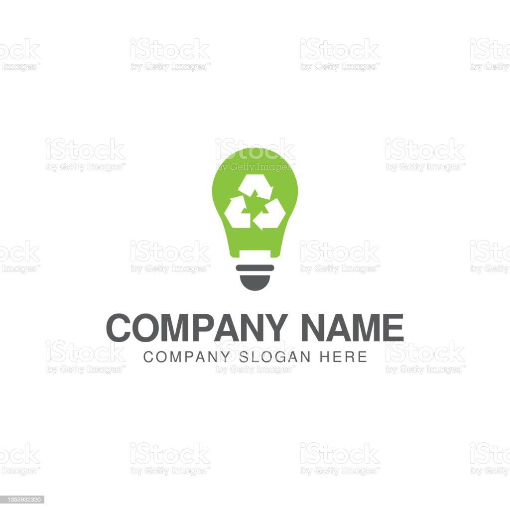 電球とリサイクルのロゴ デザイン テンプレート ひらめきのベクター