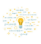 Imagination and innovation, creativity and thinking. Big science idea concept. Lightbulb and abstract thoughts in geometric colored shapes. Light bulb. Line style vector. Scientific knowledge.