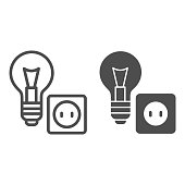 Light bulb and socket line and solid icon, home repair concept, Electric repair and installation sign on white background, lightbulb with socket icon in outline style for mobile, web. Vector graphics