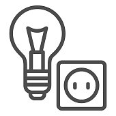 Light bulb and socket line icon, home repair concept, Electric repair and installation sign on white background, lightbulb with socket icon in outline style for mobile, web. Vector graphics