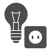 Light bulb and socket solid icon, home repair concept, Electric repair and installation sign on white background, lightbulb with socket icon in glyph style for mobile, web. Vector graphics