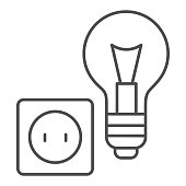 Light bulb and socket thin line icon, home repair concept, Electric repair and installation sign on white background, lightbulb with socket icon in outline style for mobile, web. Vector graphics