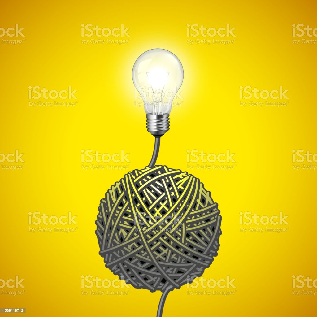 Light bulb and tangled wire on yellow background vector art illustration